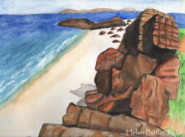 Al Cleit Beach, Argyll - watercolour