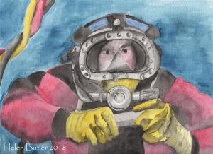 Gone Diving! - watercolour