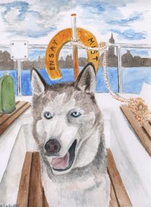 Husky dog on the boat - watercolour