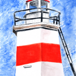 Crinan Canal Lighthouse in watercolour, available in greetings card and print formats