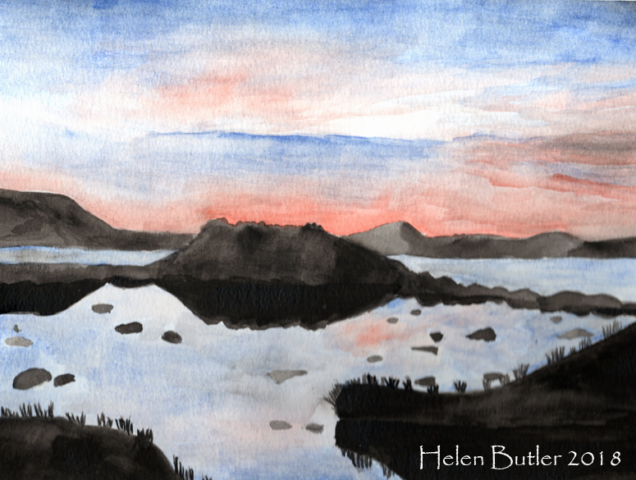 Dusk in the Scottish Highlands - watercolour