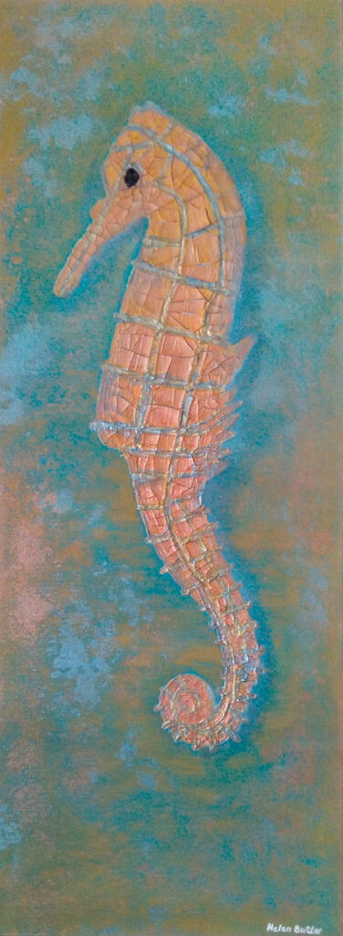 Seahorse - Acrylic and cracklepaste
