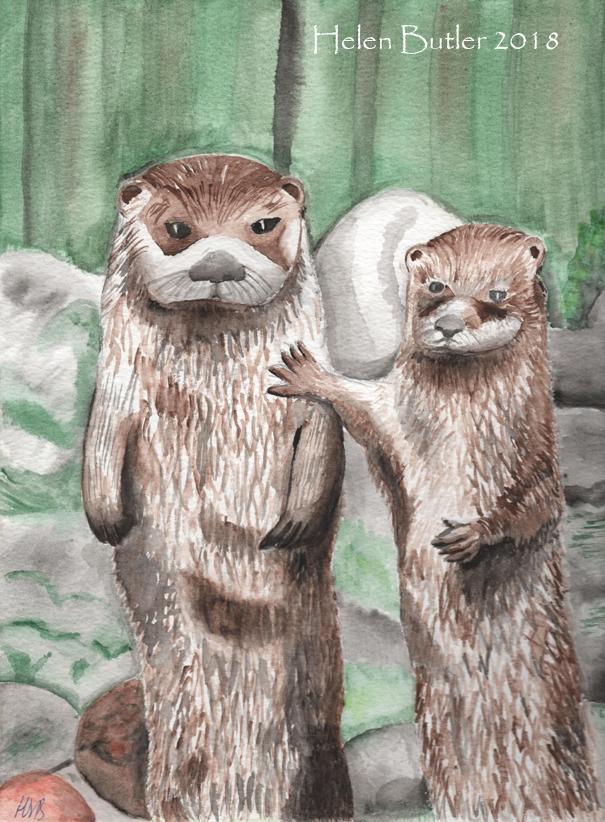 Otters - watercolour