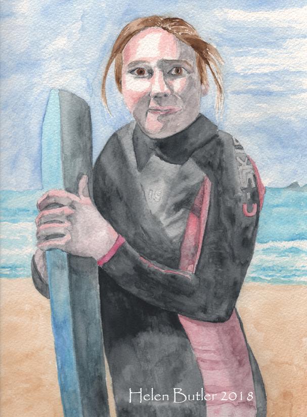 Surf's Up! - watercolour