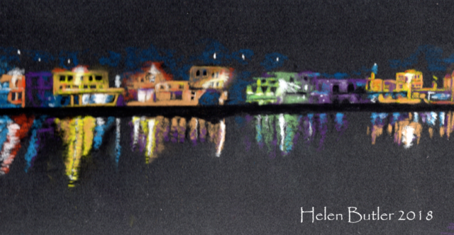 Tarbert by night, Argyll - pastel