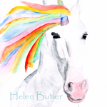 Unicorn watercolour painting, available in greeting card and print formats