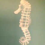 Sea horse, painted in acrylic, available in greetings card and print formats