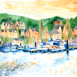 Tarbert, Argyll in watercolour, available in greeting card or print format