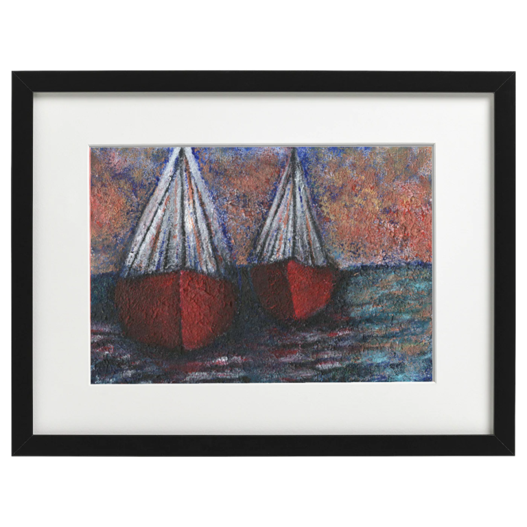 Boats tied up in the harbour - Cracklepaste and acrylic ink