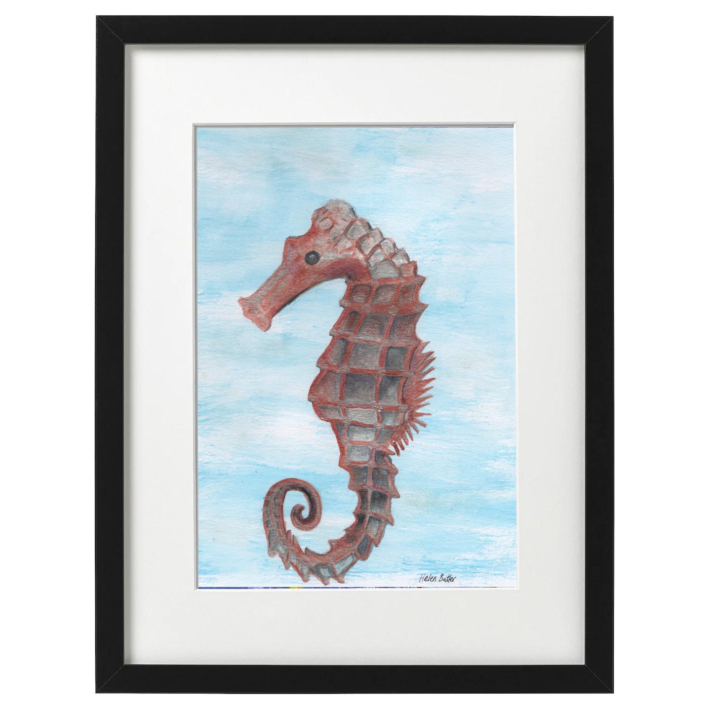 Seahorse - metallic watercolour