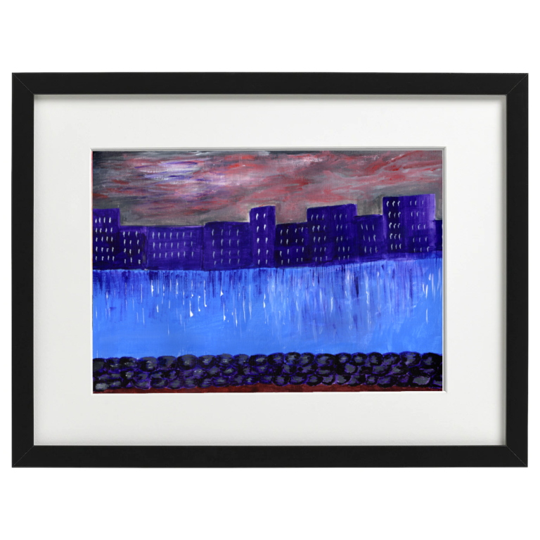 The River Clyde, Glasgow - acrylic on A4 acrylic paper