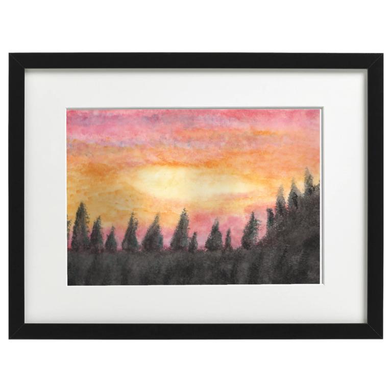 Lochgilphead sunset - watercolour