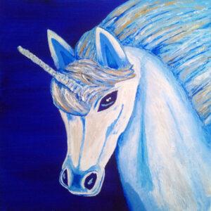 Unicorn - acrylic and acrylic medium