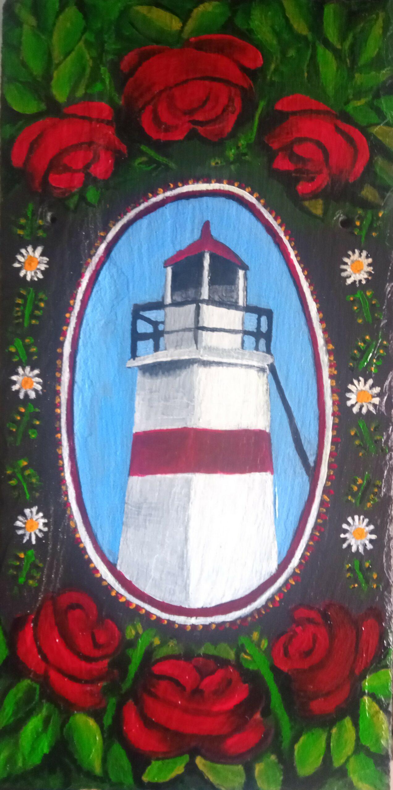 Crinan Canal Lighthouse on slate