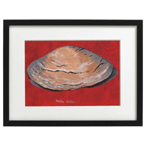 Clam shell - acrylic on A4 canvas board