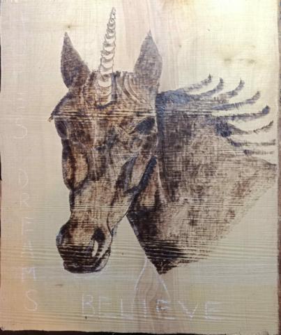 Pyrography Unicorn - work in progress